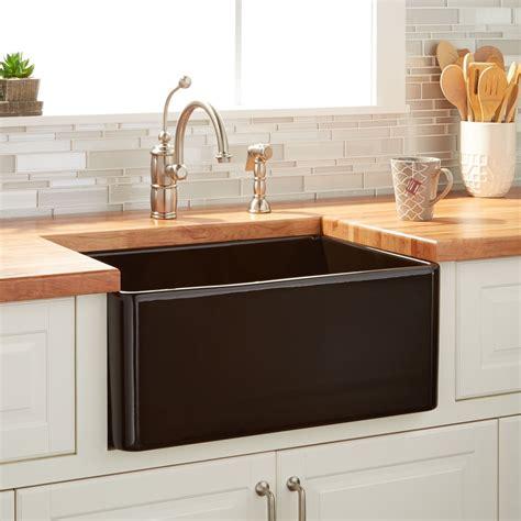 Fireclay Kitchen Sink 24 Quot Reinhard Fireclay Farmhouse Sink Black Kitchen
