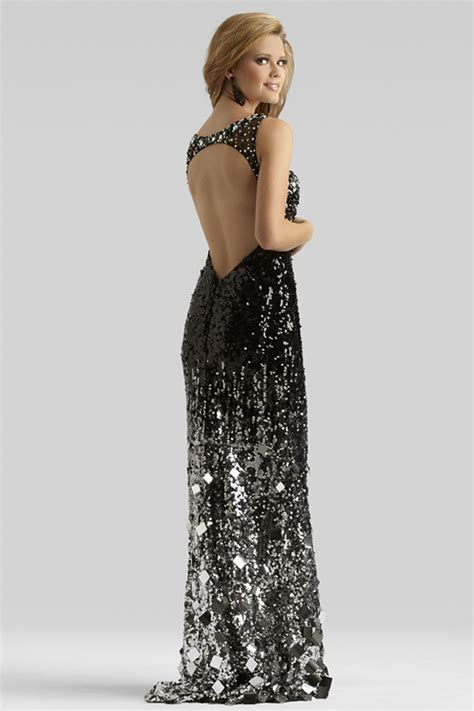 Black And Silver Evening by Clarisse 2014 Black Silver Boat Neck Sheer Sequin Open