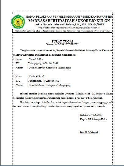 Contoh Surat Tugas by Contoh Surat Tugas Kegiatan Ekstra Kurikuler Yayasan Al