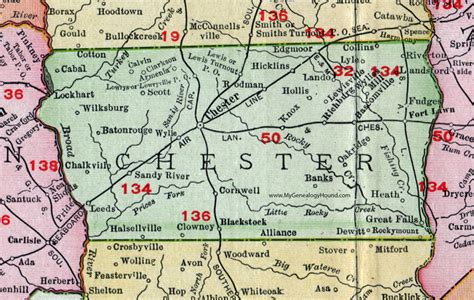 Chester County Sc Records Chester County South Carolina 1911 Map Rand Mcnally Great Falls Fort Lawn Lando