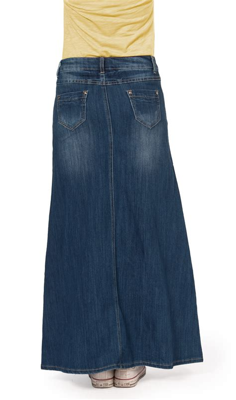 faded denim skirt sizes 6 20 womens length maxi