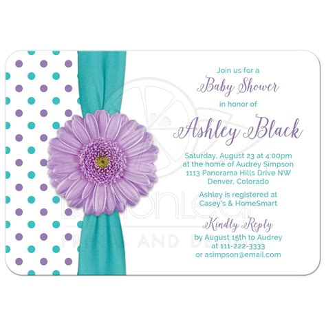 Turquoise Baby Shower by Purple Polka Dot Baby Shower Invitation Turquoise
