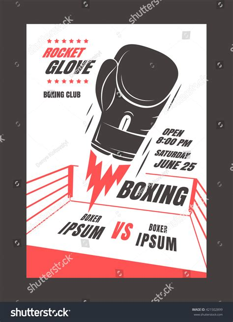 Boxing Chionship Poster Template Design Glove Stock Vector 421502899 Shutterstock Fight Poster Template