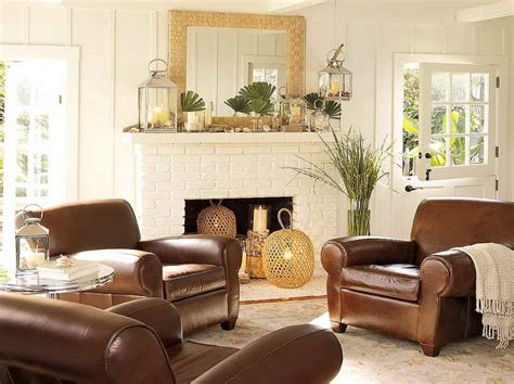 Elegant Living Room Decorating Ideas With Brown Leather Leather Sofa Living Room Ideas