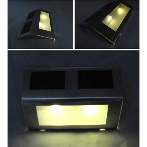 Solar Lights For Stairs Fence Wall Lights 2led Stainless Steel Staircase Solar