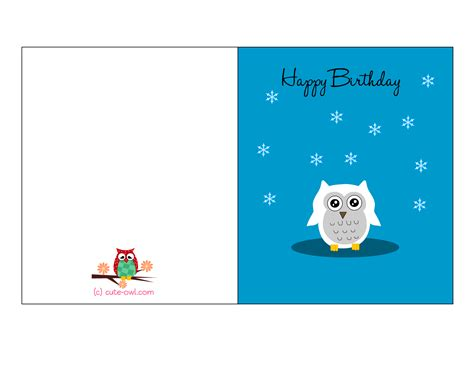Printable Owl Card Template by Free Printable Owl Birthday Cards