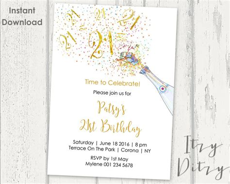 21st Birthday Invitations Template Printable Gold Chagne 21st Birthday Template