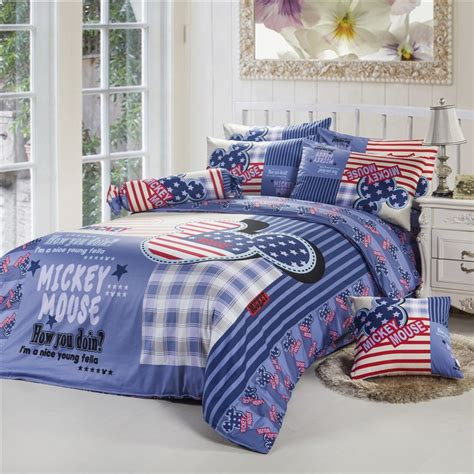 mickey mouse full size bedding blue star mickey mouse full queen size duvet cover bedding jpg