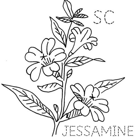 yellow jessamine coloring page 78 images about u s states for embroidery on pinterest