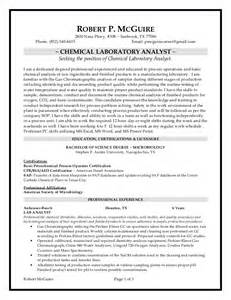 Chemistry Lab Technician Sle Resume by Chemical Lab Analyst Resume 2 13 15