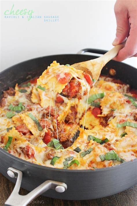 cheesy ravioli and italian sausage skillet the comfort kitchen bloglovin