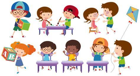Imagenes De Niños Jugando Y Aprendiendo   muchos ni 241 os jugando y aprendiendo descargar vectores