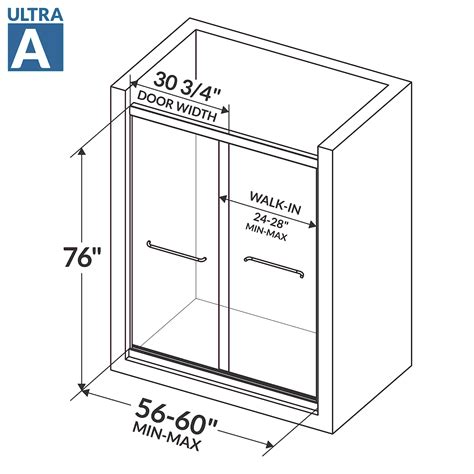 shower door bypass 56 60 w x 76 h ultra a brushed nickel