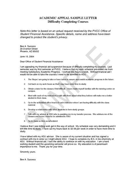 Financial Aid Satisfactory Academic Progress Appeal Letter Exle Cover Letter For Financial Aid Appeal
