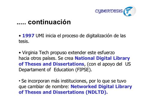 national digital library of theses and dissertations tesis digitales una forma de difusi 243 n conocimiento