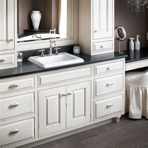 White Bathroom Furniture Furniture Extraordinary White Bathroom Vanity Black Granite Top With Semi Recessed Rectangular