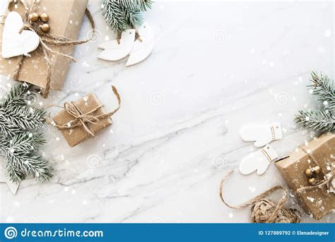 christmas handmade gift boxes  white marble background top view merry christmas greeting card