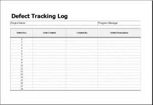 Bug Report Template Excel by Defect Tracking Log Template For Ms Excel Excel Templates