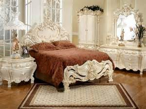 Furniture wooden carving headboard also large bed with carpet and