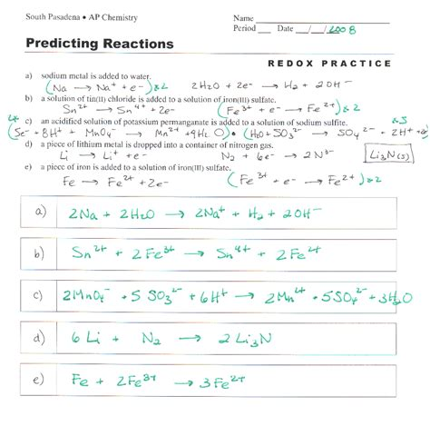 11 1 Describing Chemical Reactions Section Review Answers by Worksheets Oxidation Reduction Reactions Worksheet