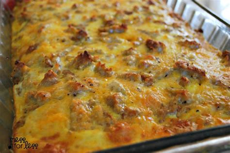 sausage egg and biscuit breakfast casserole food fun friday mess for less