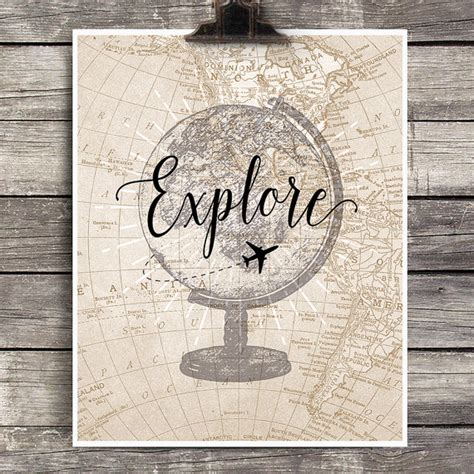free printable wall art travel vintage globe explore print vintage airplane decor explore