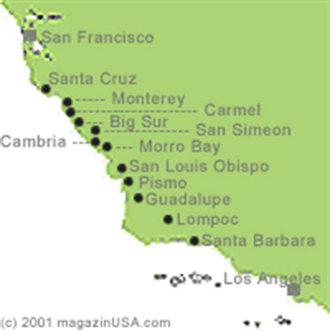Map Of Pch From La To San Francisco - travel explore usa california california s pacific coast highway 1 from l a
