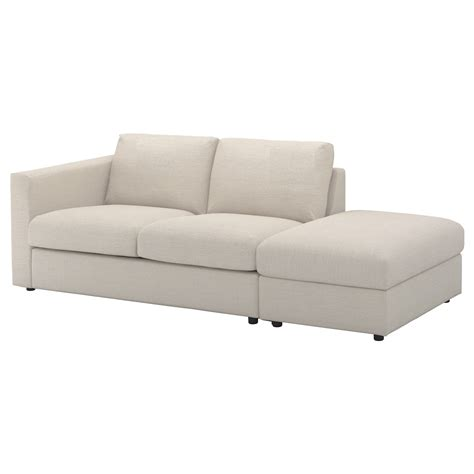 open sofa vimle 3 seat sofa with open end gunnared beige ikea