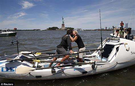 row boat atlantic crossing adventurous couple row across atlantic in record 153 day