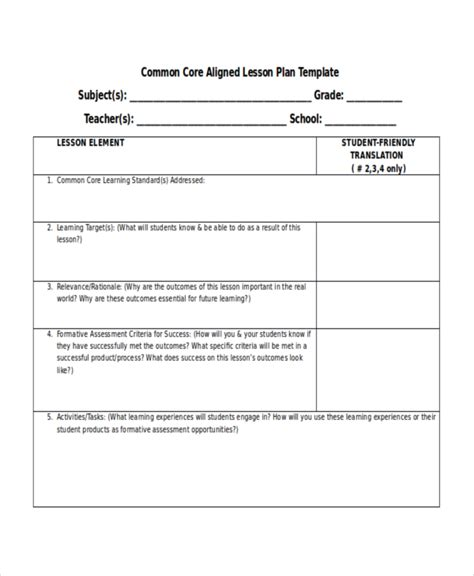 lesson plan template for common lesson plan template 10 free word pdf document
