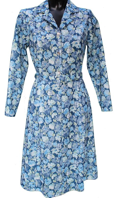 blue pattern long sleeve dress ladies long sleeve dress by rival in blue floral pattern 41 quot