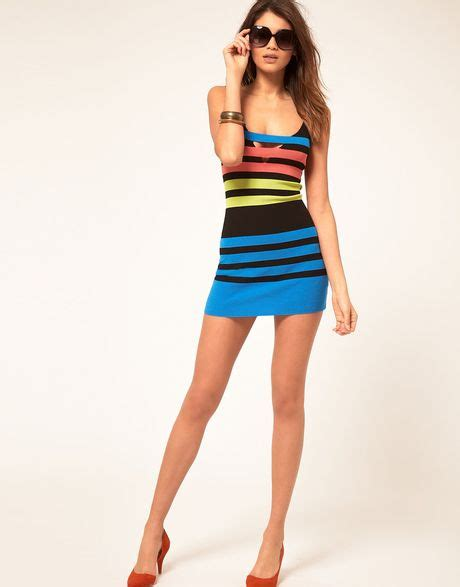 Miss Sixty Dress miss sixty knitted con dress in multicolor black lyst