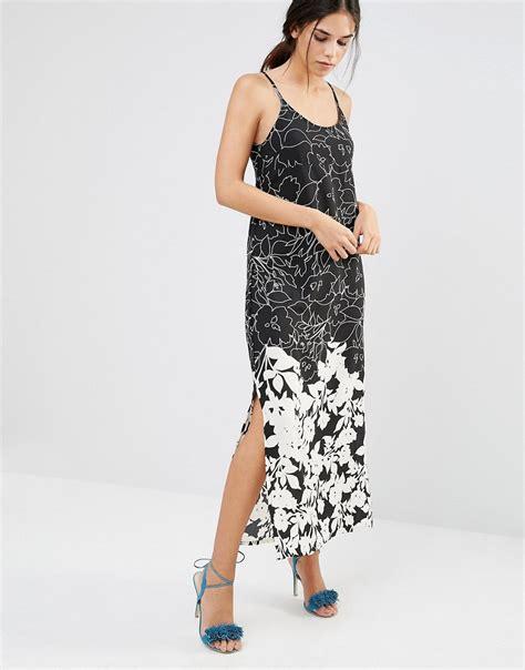 Floral Print A Line Maxi Dress a line maxi dress in mono