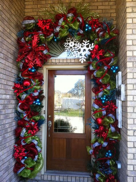 Christmas Ideas 2013 Christmas Front Door Entry And Porch Front Door Decorating