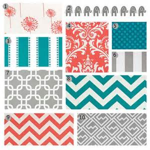 items similar to crib bedding coral grey and turquoise