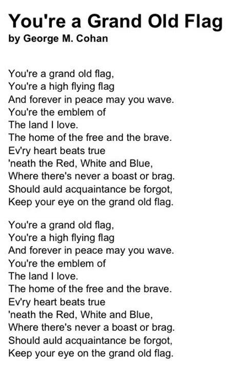 Printable Lyrics To You Re A Grand Old Flag | you re a grand old flagworld of flags world of flags