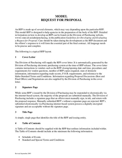 request for rfp template sle request for format