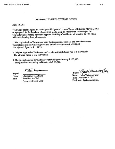 Rasp Letter Of Intent Exle Agent155 Media Corp Form 10 K Ex 10 29 Approval To File Letter Of Intent Dated April 14