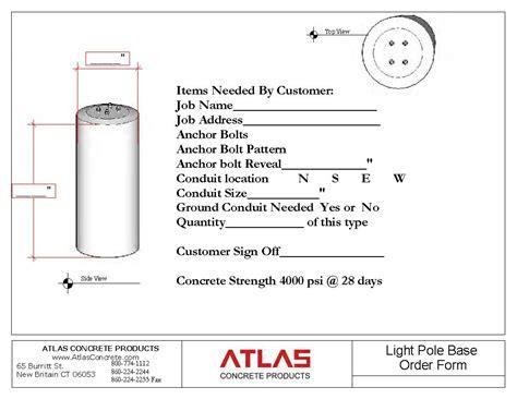 Light Pole Base Template Atlas Concrete Light Pole Bolt Template