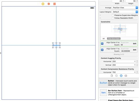 xcode layout center xcode use auto layout to position button near the center