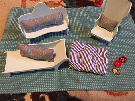 lot shabby chic blue couch chair chaise dog bed dollhouse