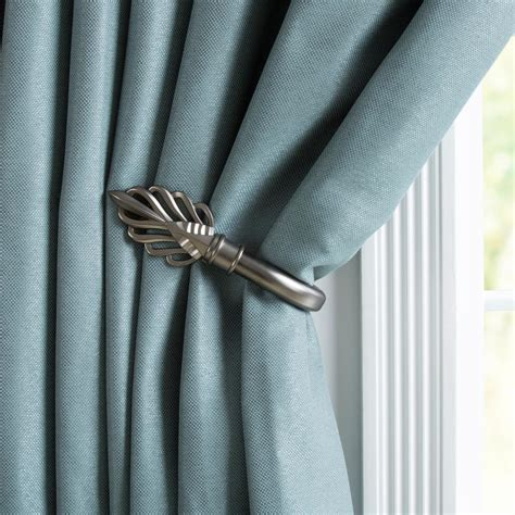 pewter curtain tie backs lavish home leaf holdback pair in pewter 63 19223a p the