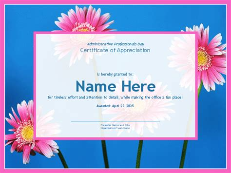 administrative day card template templates certificates certificate for administrative
