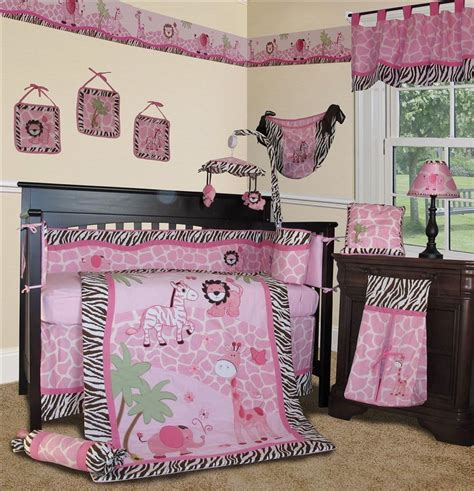 Baby Boutique Pink Safari 15 Pcs Nursery Crib Bedding Pink Baby Bedding Sets