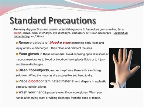 recommendations and universal precautions for the prevention of universal precautions slideshare