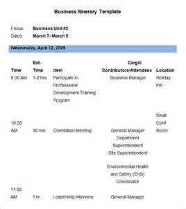 itinerary template word business itinerary template 7 free word pdf documents