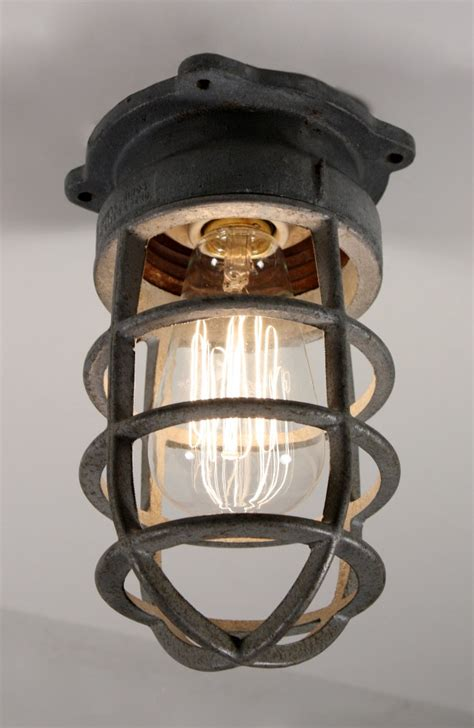 Antique Industrial Cage Light Fixture For Wall Or Ceiling Cage Light Fixture