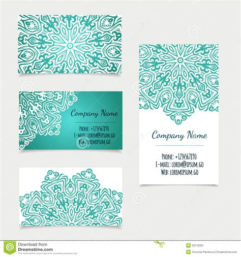 business card set template set of retro business card templates with mandala stock