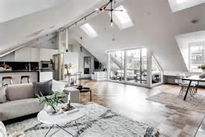 exclusive attic apartment design  stockholm home