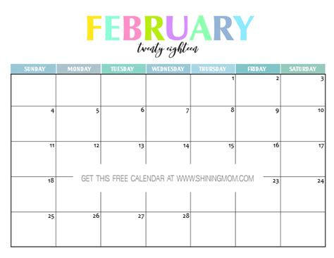 printable free february 2018 calendar free printable 2018 calendar pretty and colorful